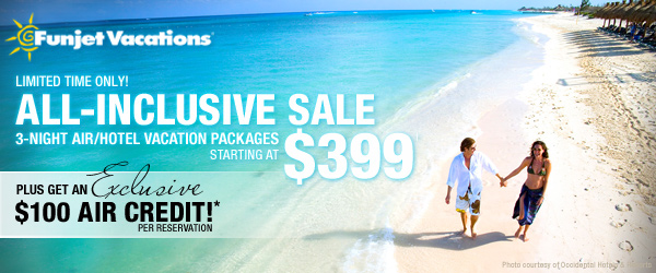 All inclusive sale vacations from 399 exclusive 100 for All inclusive winter vacations